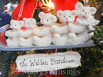 five bears from youngest to oldest on sleigh ornament with The Walden Bunch 2002
