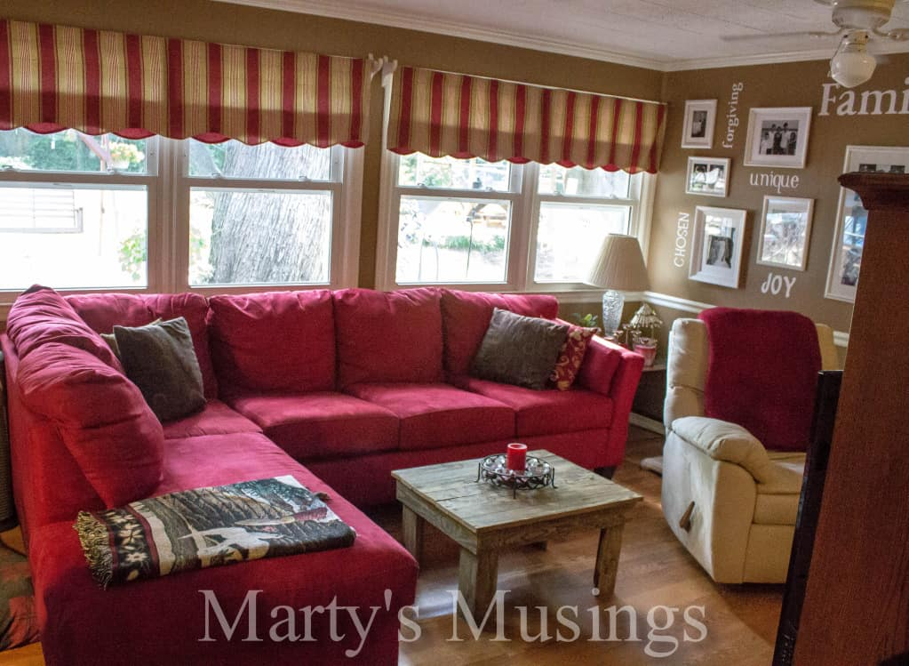 Den Makeover with red and brown from Marty's Musings