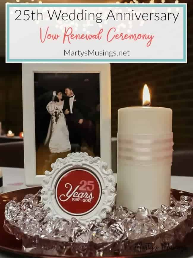 25th wedding anniversary vow renewal ceremony and decorations