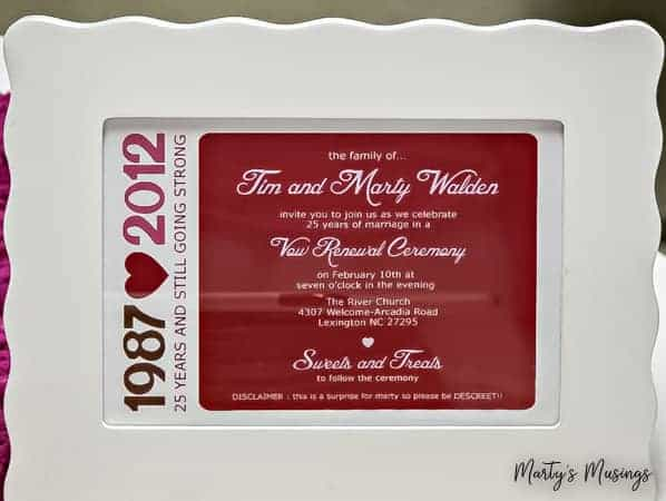 25th wedding anniversary invitation for Valentine's Day