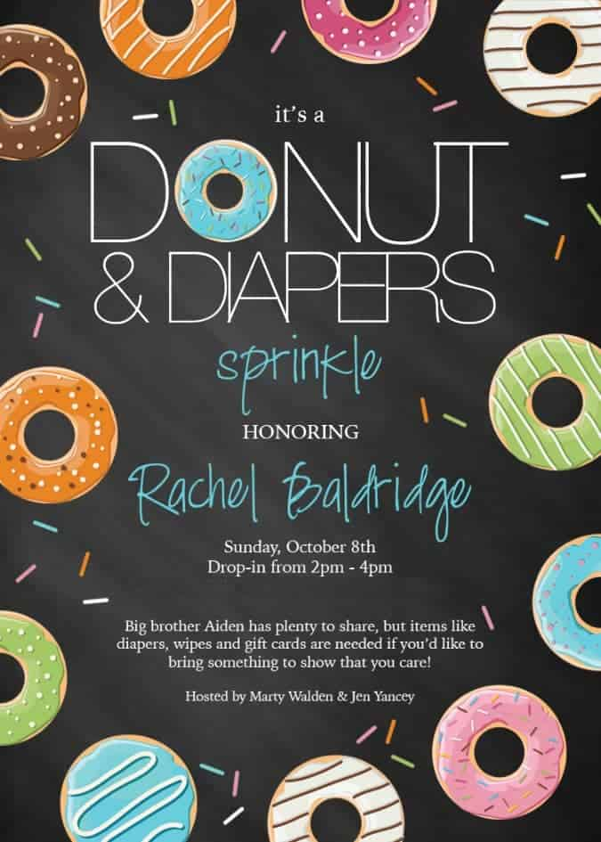 Honor your favorite mom with a Diapers and Donuts Baby Shower Sprinkle and practical gifts of all things diaper related. Includes a FREE printable invitation!