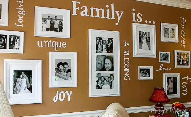 Complete tutorial on how to make a gallery wall on a budget with everything you need to know from layout to choosing frames, pictures and words. #DIY #crafts #homedecor #repurposed #martysmusings