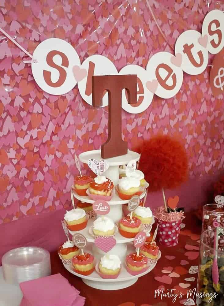 Large red initial topper for cupcake stand and Valentine's Day table