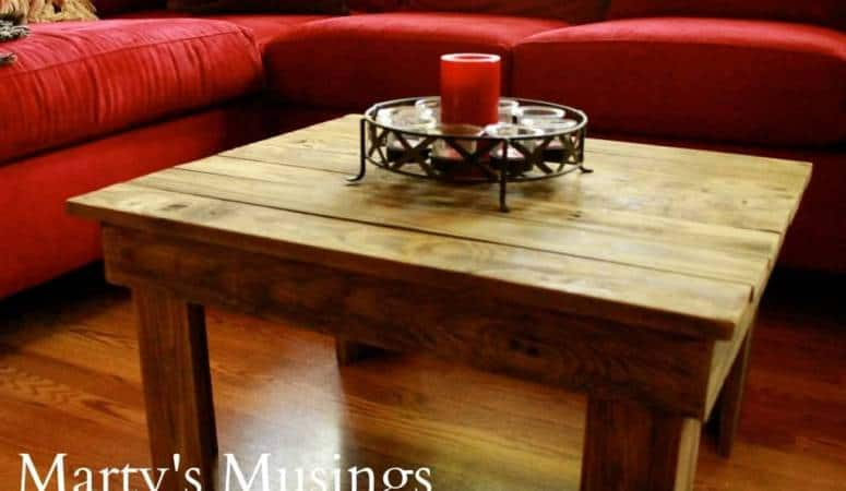 Create a rustic repurposed wood coffee table from fence boards with these DIY instructions and step by step photographs. Perfect for a warm, inviting natural home!