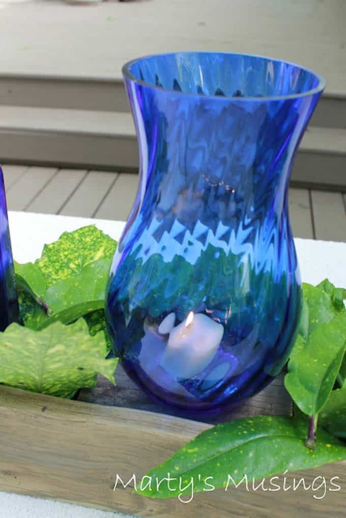 Centerpiece with Blue Bottles from Marty's Musings