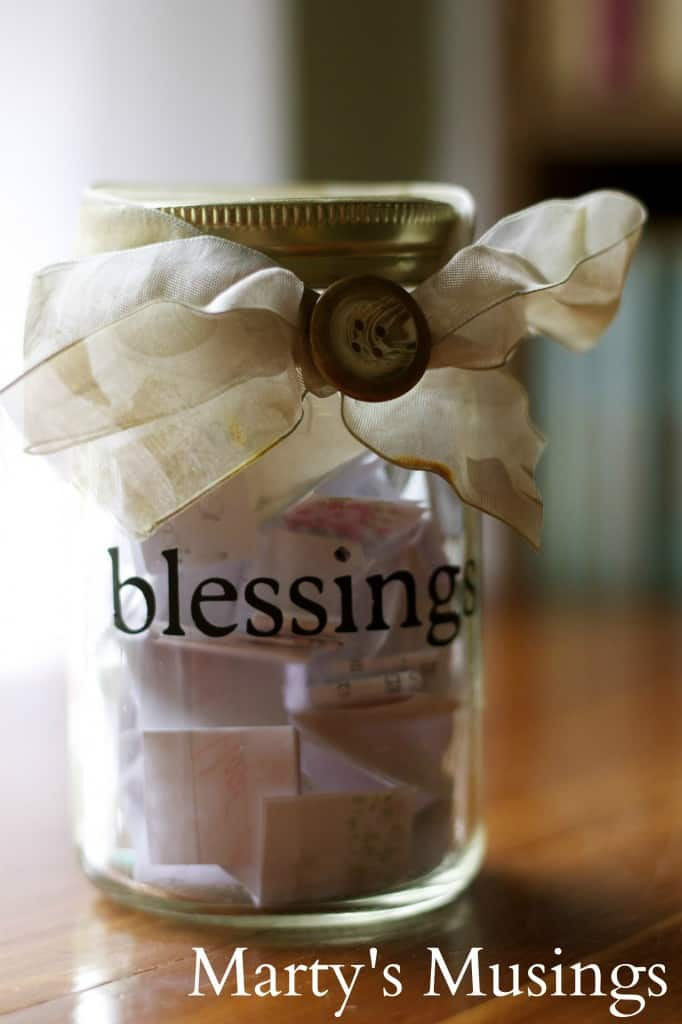 Family Tradition: The blesing jar is a daily reminder of God's blessings, written on scraps of paper throughout the year and opened on Thanksgiving evening together as a family.