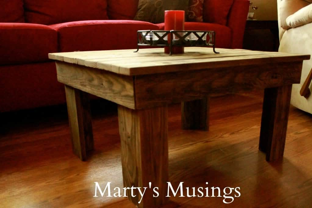 Table made of Fence Posts from Marty's Musings