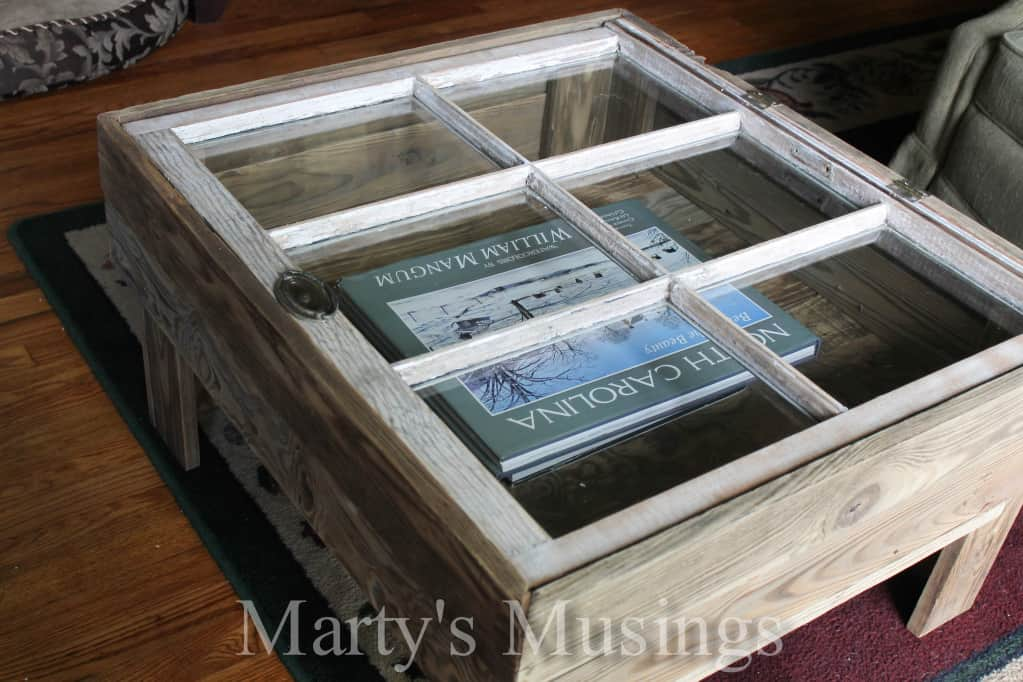 Rustic window table marty 39 s musings for How to make an end table out of books