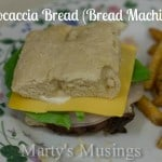 Meat and cheese sandwich made with focaccia bread square, served with french fries