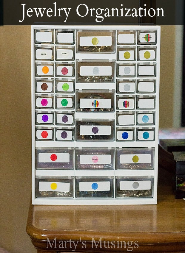 Ingenious ways for jewelry organization and storage using repurposed hardware drawers and labels to identify jewelry by color.