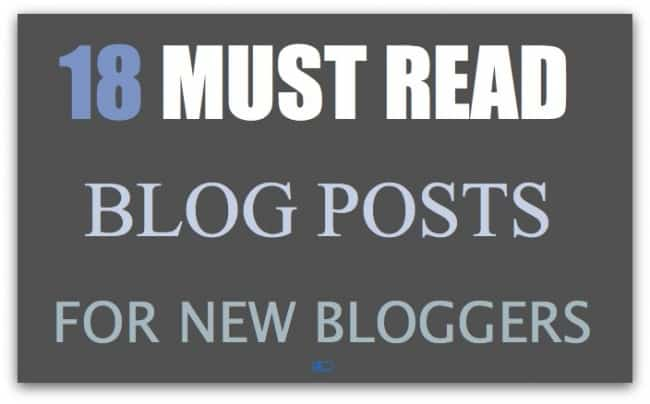 """graphic on gray background with text 1""""8"""" in purple, """"must read"""" in white, """"blog posts"""" in light purple and """"for new bloggers"""" in gray"""