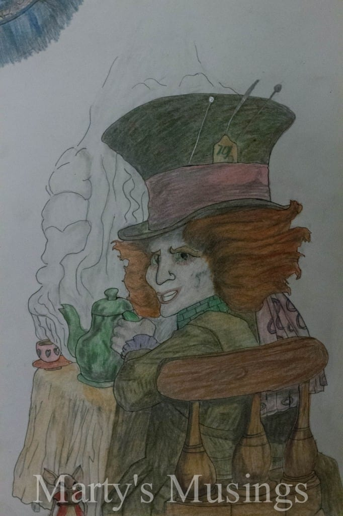 Colored pencil drawing of Mad Hatter from Alice in Wonderland drawn on white paper (Johnny Depp version)