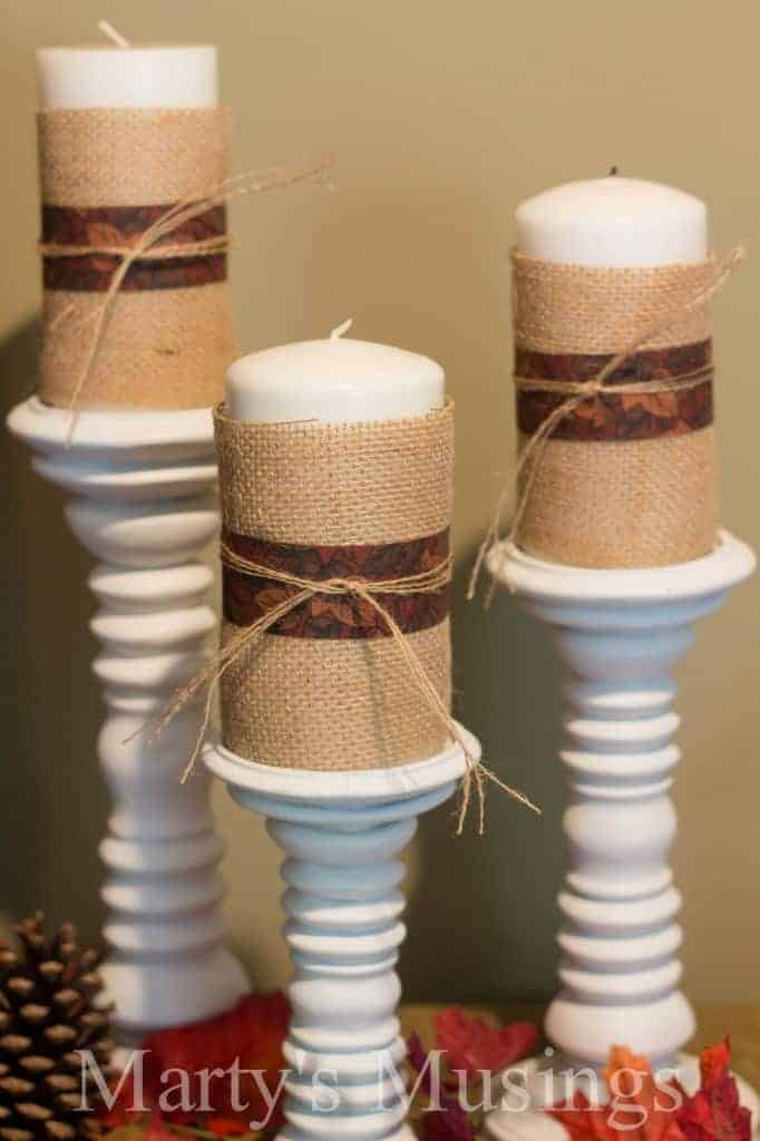 Burlap Wrapped Candles and Thrifty Fall Decor
