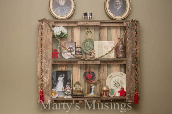 Pallet Shelves for Christmas from Marty's Musings