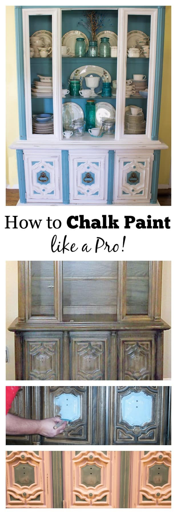 You don't have to be a professional painter to learn how to chalk paint! This china hutch makeover with Annie Sloan chalk paint is a shabby chic DIY! #anniesloanchalkpaint #chalkpaint #chalkpainting #howtochalkpaint #martysmusings