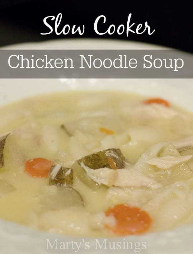 Need a solution for a busy day of work and play that warms the heart and body? This slow cooker Chicken Noodle Soup from Marty's Musings is the ultimate homemade comfort food!