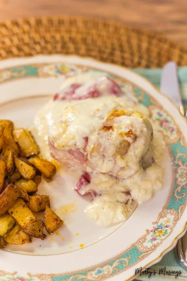 chicken and chipped beef with roasted potatoes