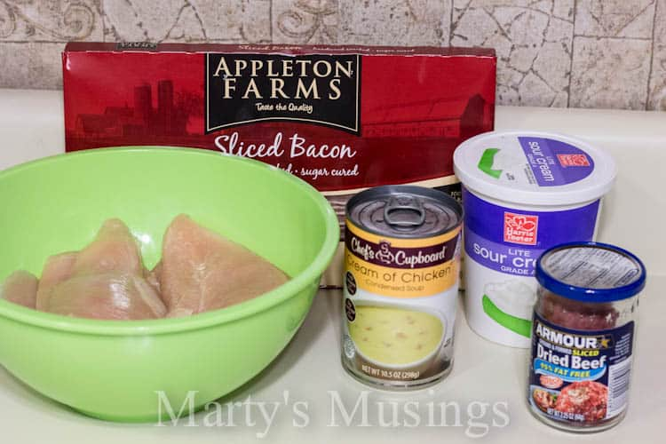 ingredients for chicken and chipped beef