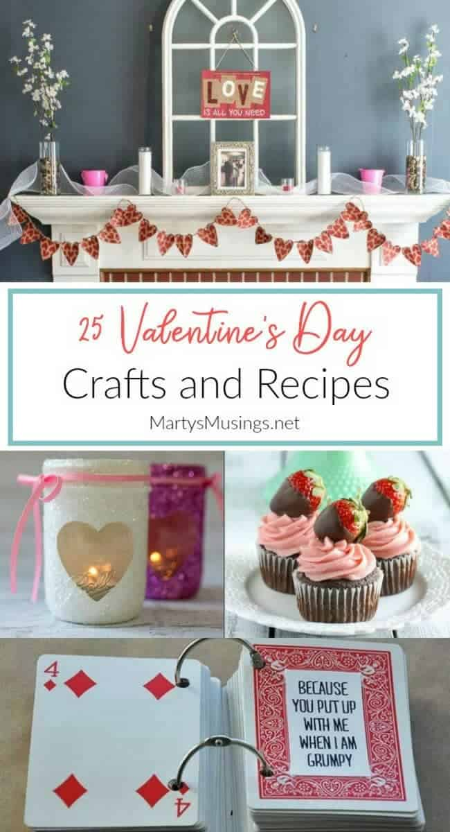 Don't know where to start to create a special day for the ones you love? These 25 Valentine's Day crafts and recipes will help you celebrate and make memories on this special holiday! #valentinesday #hearts #love #valentine #holiday #crafts #recipes #martysmusings