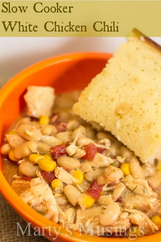 Slow Cooker White Chicken Chili from Marty's Musings
