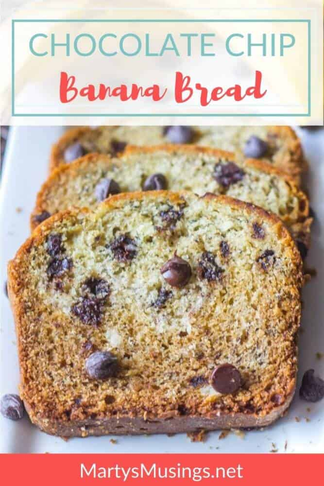 Chocolate Chip Banana Bread text with bread and chocolate chips on top