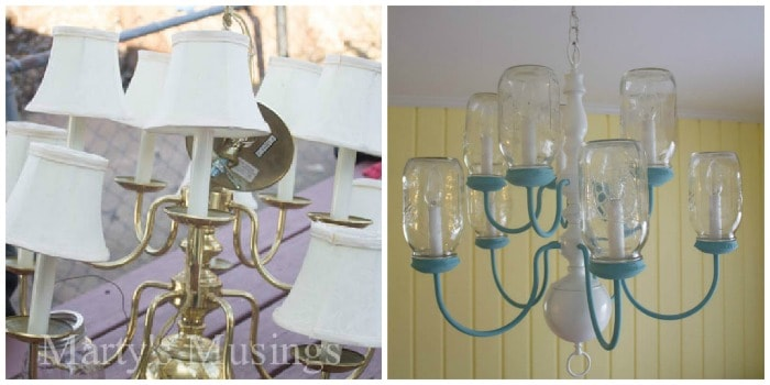 Diy mason jar chandelier step by step instructions mason jar chandelier collage mozeypictures Image collections