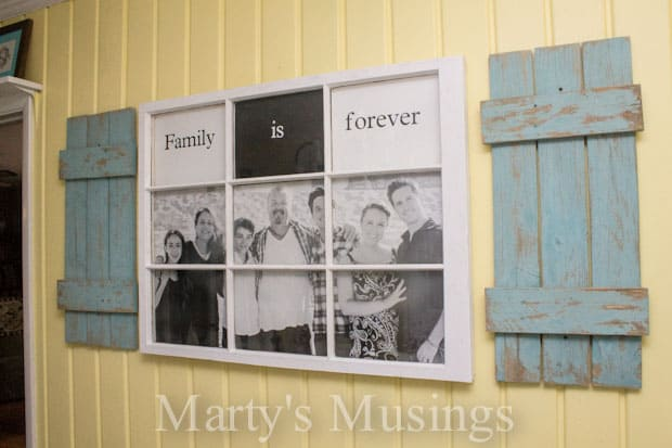Photo Frame made from old fence boards and window - www.martysmusings.net