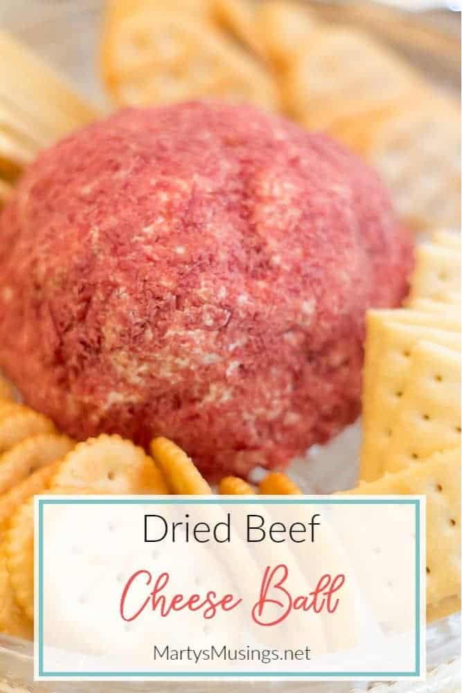 dried beef cheese ball with crackers