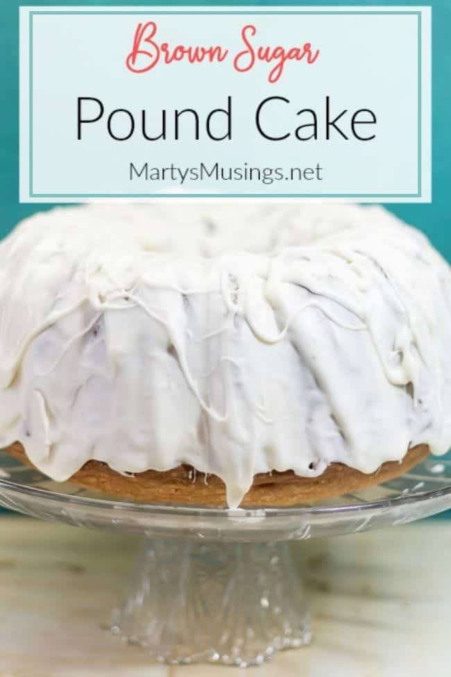 brown sugar pound cake on crystal cake stand