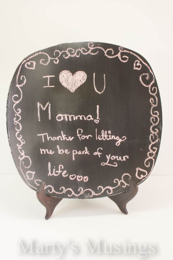 Mother's Day Crafts with Glass Chalkboard Paint from Marty's Musings