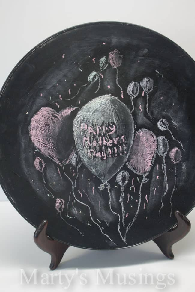 Mother's Day Plate with Glass Chalkboard Paint from Marty's Musings
