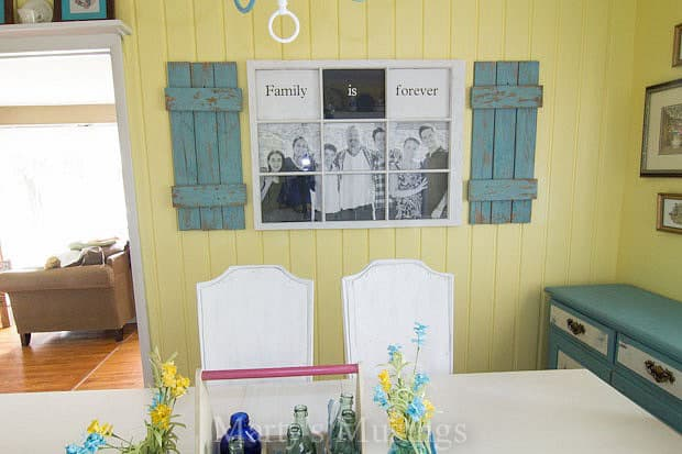 Fence Boards, Window and Paint make a fun Family Photo Frame from Marty's Musings