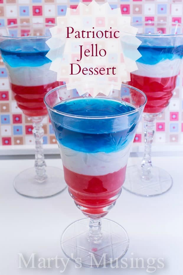 Red White and Blue Layered Jello Dessert