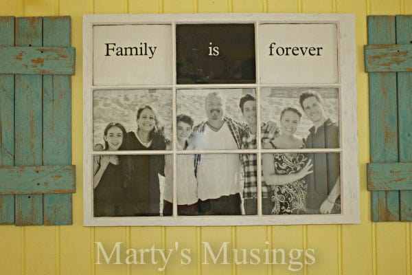 Photo Frame made of old window and fence boards from Marty's Musings