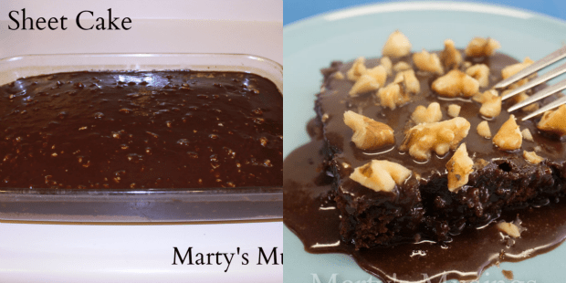Texas Sheet Cake Before and After