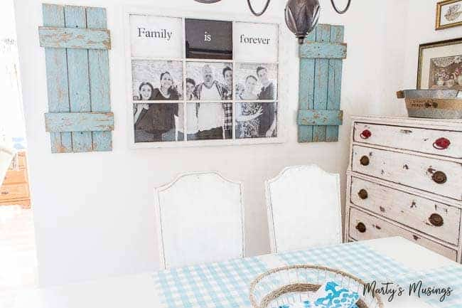 This DIY tutorial turns a cast off window and an engineering print sized family picture into a repurposed, rustic old window photo frame.