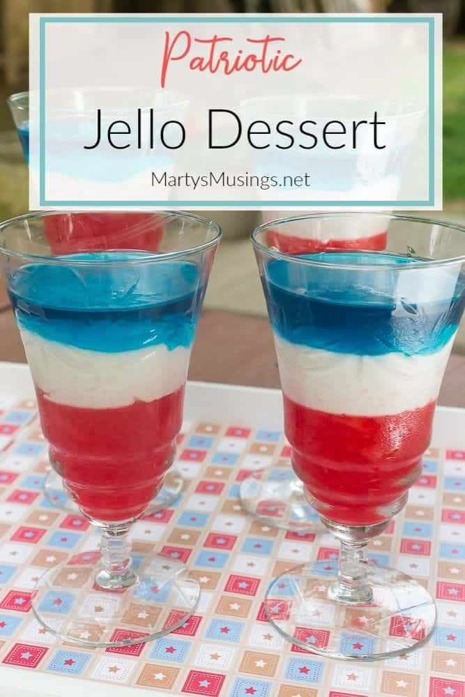 Red white and blue jello dessert for 4th of July or Memorial Day