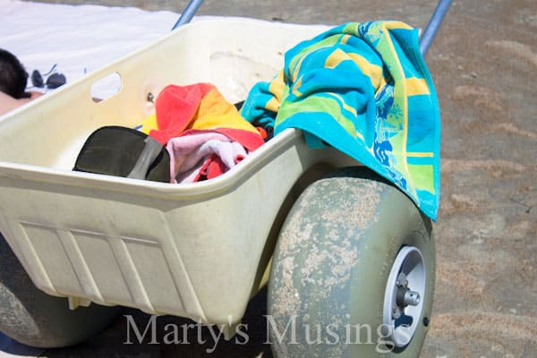 Sand cart full of beach towels
