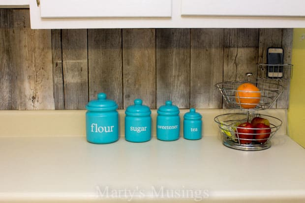 Creative Backsplash with Fence Boards from Marty's Musings