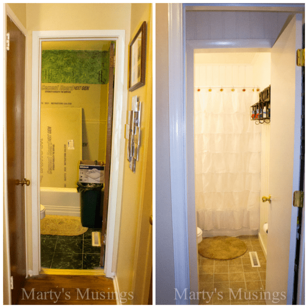 Rustic Small Bathroom Remodel Before And After - Little bathroom remodel