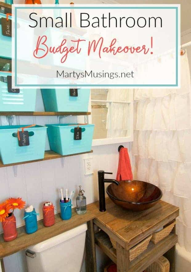 This small bathroom remodel combines frugal tips on storage with DIY repurposing projects while creating a rustic, one of a kind space.