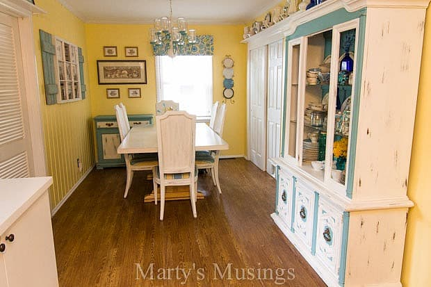 Aqua and Yellow DIY Kitchen from Marty's Musings