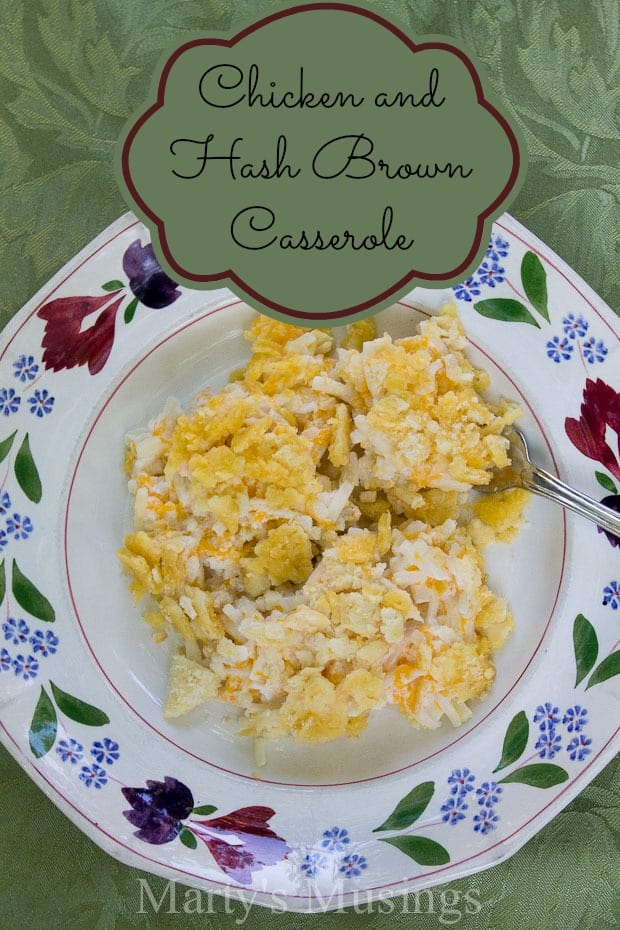This familiar chicken and hash brown casserole is a favorite for potlucks and family dinners. Easy to throw together in a pinch and cheap, too!