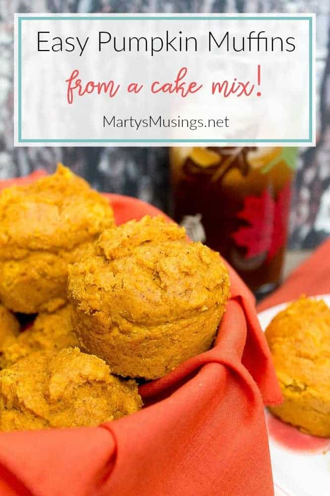 easy pumpkin muffins made from a cake mix in a fall basket