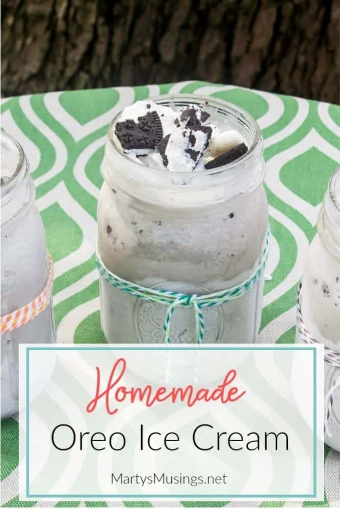 homemade Oreo ice cream in a mason jar
