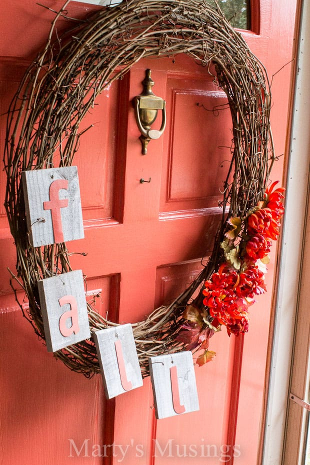 I saw this idea from Karianne at Thistlewood Farms and knew I wanted to do something similar with my $1 yard sale grapevine wreath.