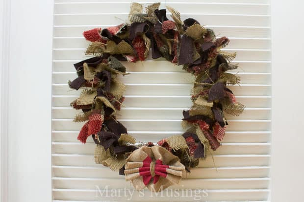 How to Make a Rag Wreath from Marty's Musings