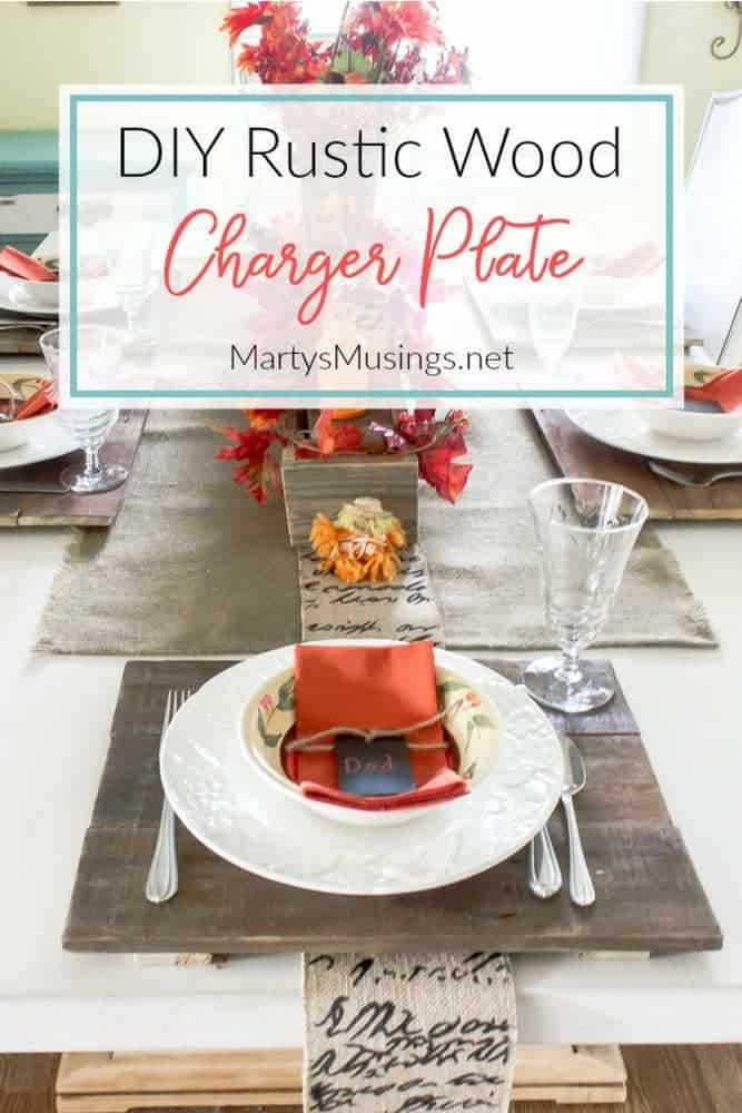 DIY rustic wood charger for a fall table