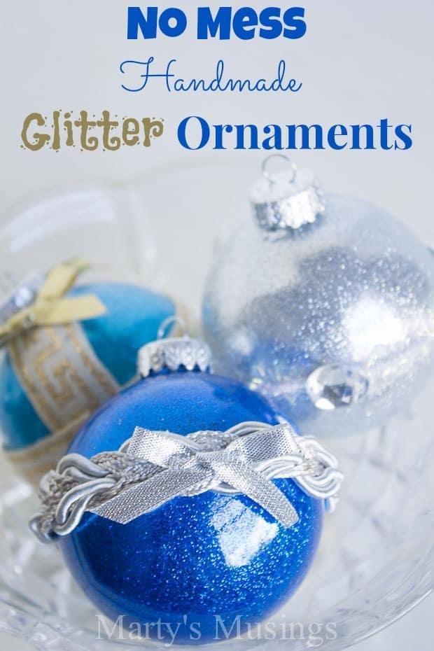 No Mess Handmade Glitter Ornaments