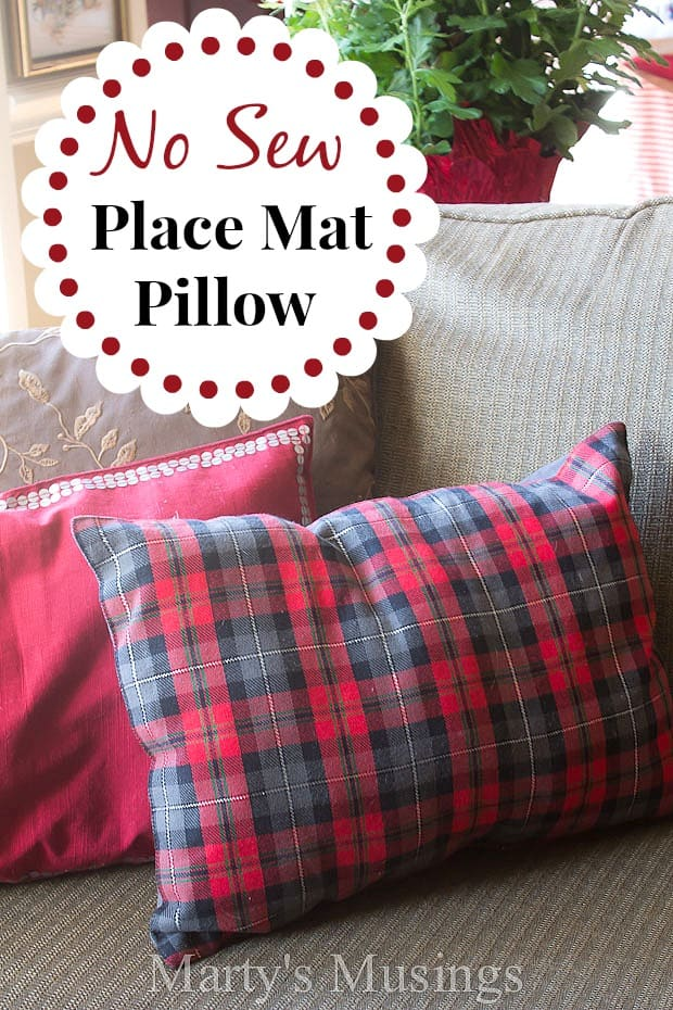 No Sew Placemat Pillow from Marty's Musings